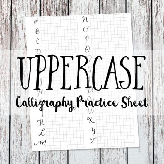 Calligraphy Practice Sheet Uppercase Version