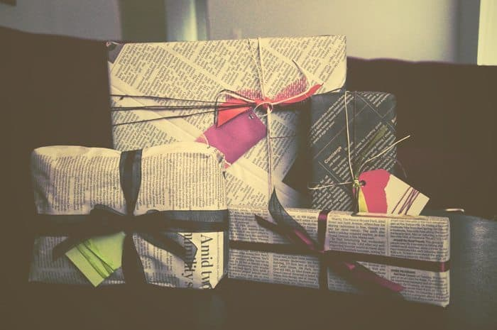 Newspaper Wrapped Presents for Christmas