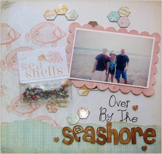 seashell scrapbook layout