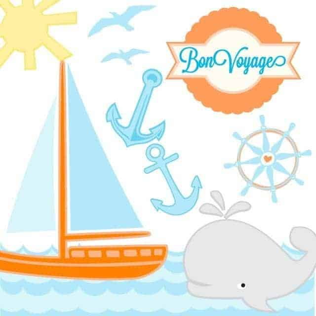Sailing Svg Cut File Kit With Sailboat Whale Anchors And Waves