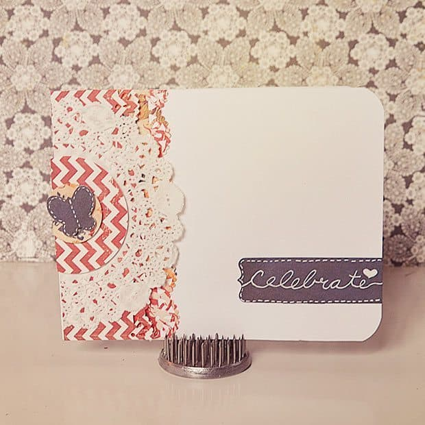 handmade card with scrapbooking supplies