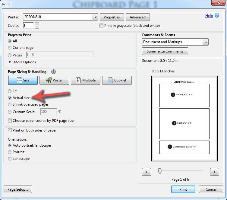 pdf actual size