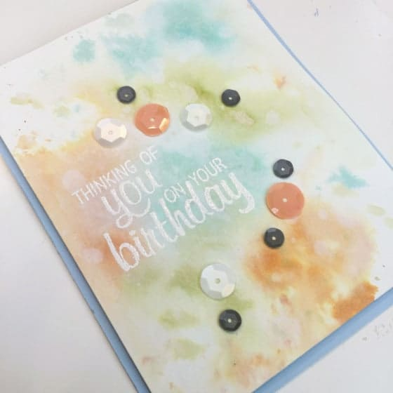 blue green orange watercolor card inspiration