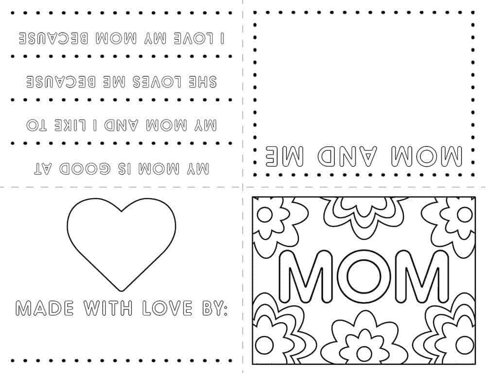 Kids Mothers Day Card Free Printable   LovePaperCrafts.com