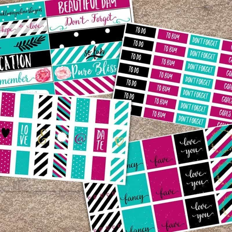 Black, White, Teal and Pink Printable Planner Stickers | LovePaperCrafts.com