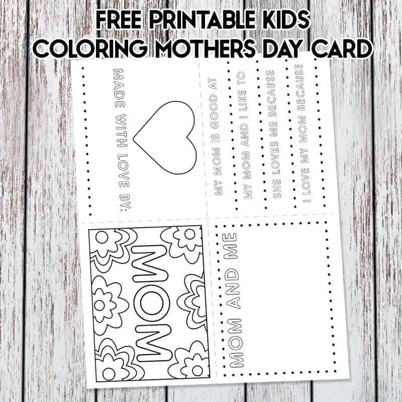 photo about Printable Mothers Day Cards for Kids called Totally free Printable Young children Moms Working day Card Coloring Web page