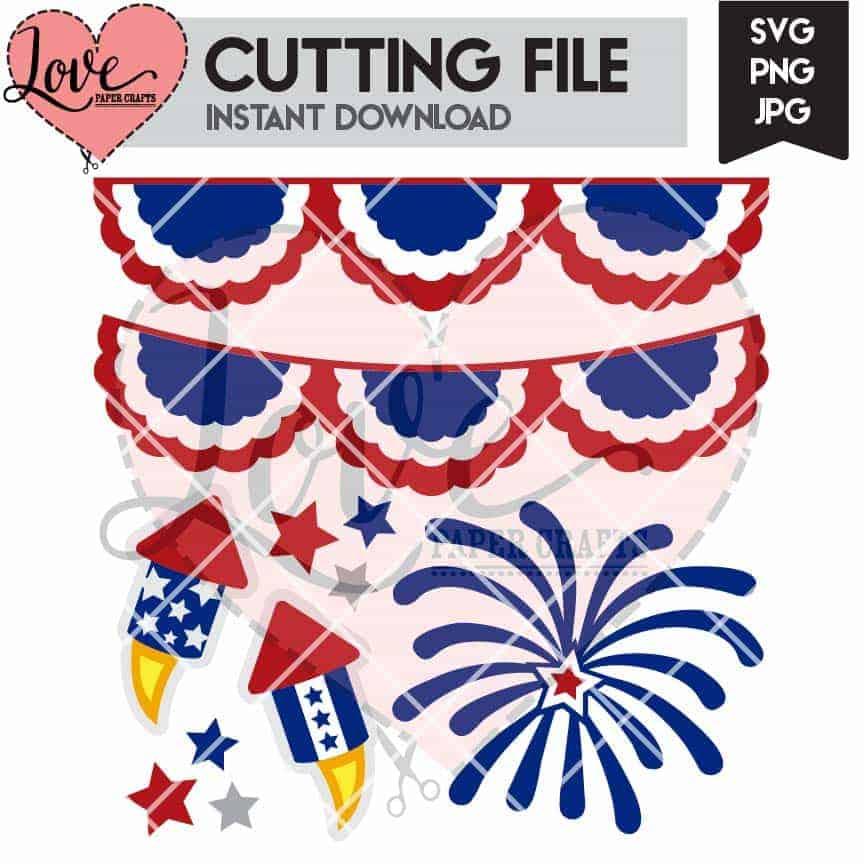 4th of July SVG Cut File | LovePaperCrafts.com