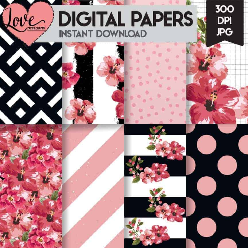 A really fun set of black, white and pink tropical floral digital scrapbooking papers | LovePaperCrafts.com