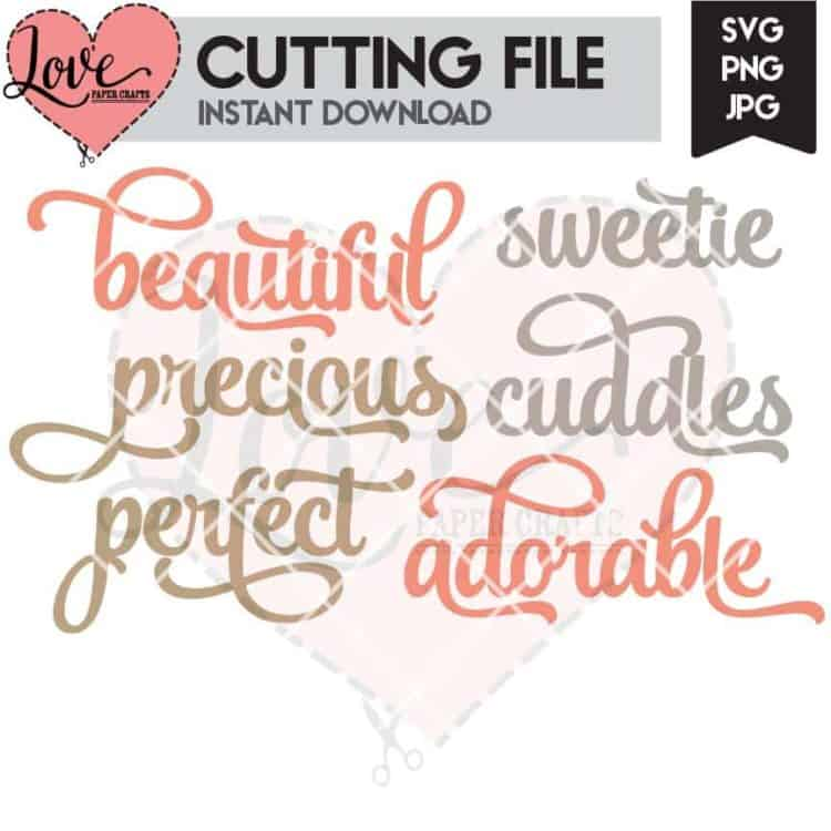 Cute Baby Words SVG Cut File | LovePaperCrafts.com