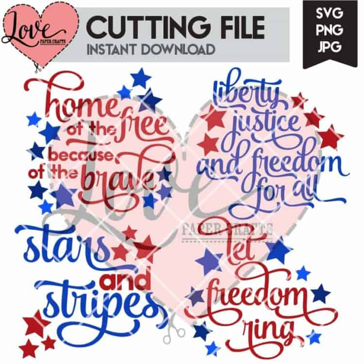 Fourth of July Cuttable SVG Titles   LovePaperCrafts.com