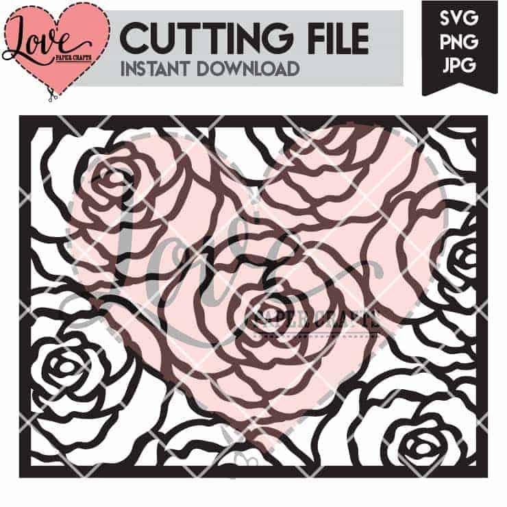 Rose Outline Background SVG Cut File | LovePaperCrafts.com