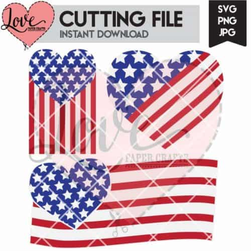 US Heart Flags SVG Cut File | LovePaperCrafts.com