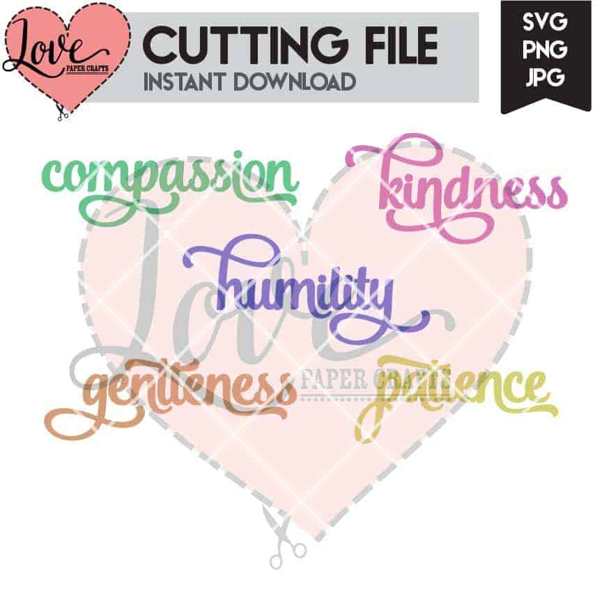 Christian Virtue Words Cuttable SVG File Download | LovePaperCrafts.com
