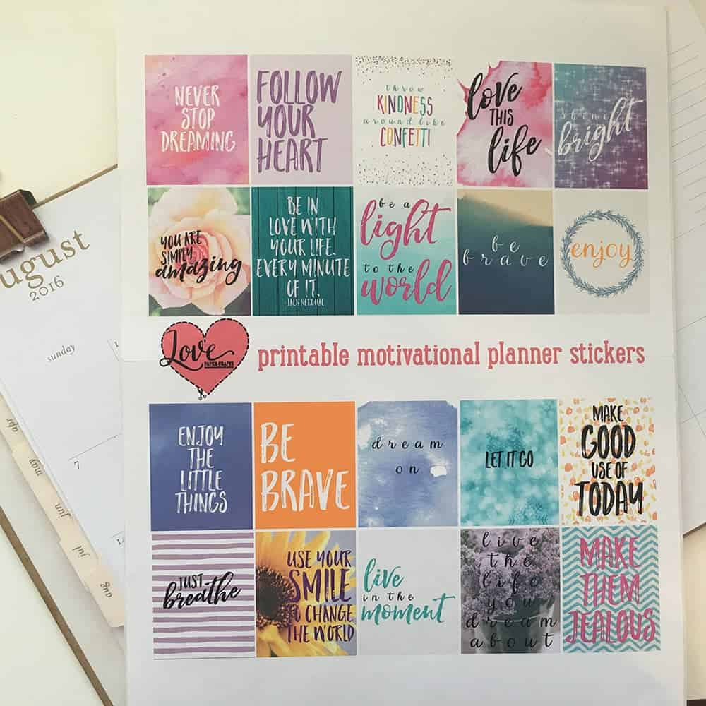 Free printable motivational stickers | LovePaperCrafts.com
