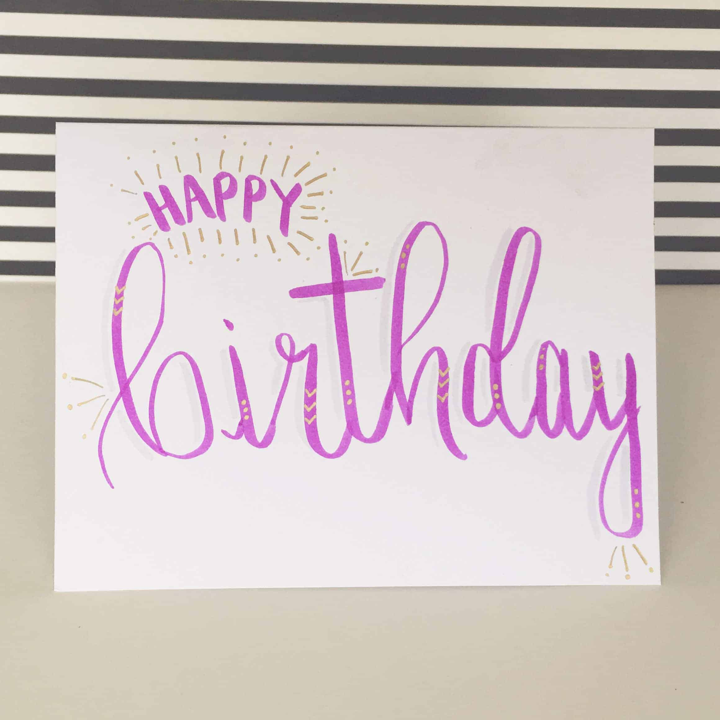 How i turned a hand lettering hobby into a money making business happy birthday hand lettered greeting card m4hsunfo