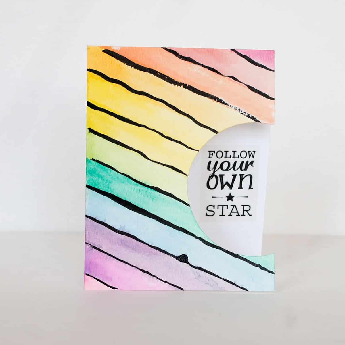 Diagonal Rainbow Stripe Card | LovePaperCrafts.com