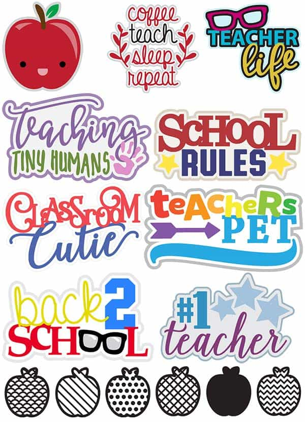 Teacher Set of SVG DXF EPS JPG PNG Cut Files and Clip Art | LovePaperCrafts.com