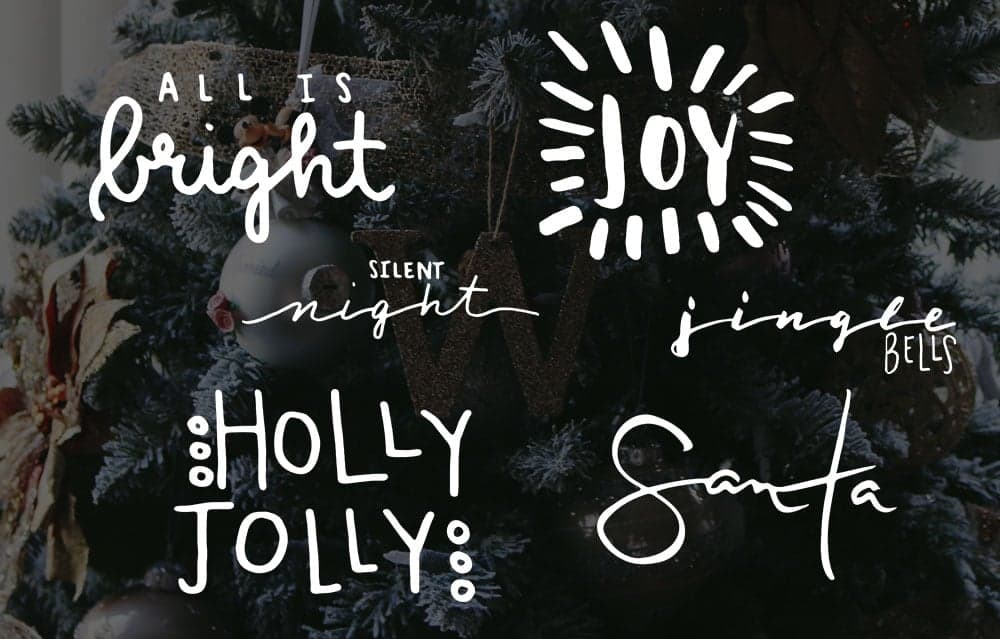6 free handwritten Christmas photo overlays to use in scrapbooking and project life on photos. | LovePaperCrafts.com