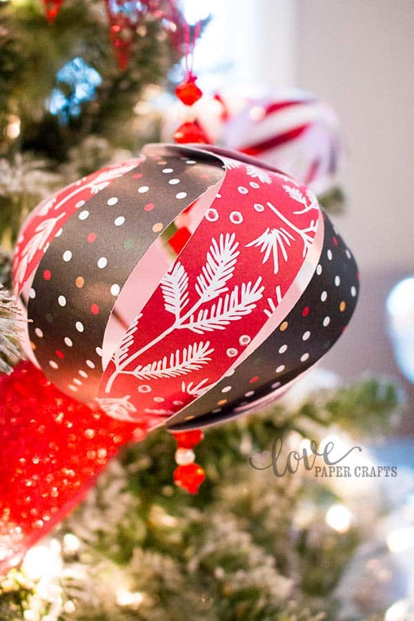 Christmas tree paper ornament Tutorial Printable and #SVG Cut File | LovePaperCrafts.com