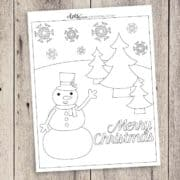 Free Printable Snowman Christmas Coloring Page | LovePaperCrafts.com