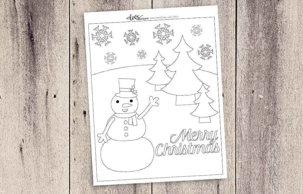 free printable snowman christmas coloring page lovepapercraftscom