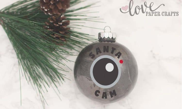 Cute Cut File for Silhouette and Cricut. SVG, DXF, EPS, PNG and JPG. Makes a cute Santa Cam ornament. | LovePaperCrafts.com