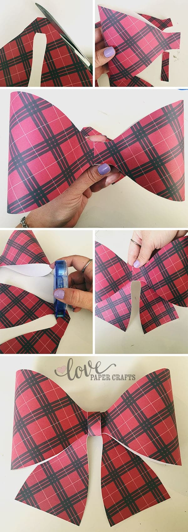 Instructions on how to put together a large paper bow | LovePaperCrafts.com