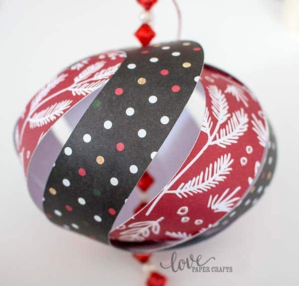 DIY Pretty #Christmas Ornaments made from #paper. Tutorial, #printable template and #SVG cut file for free! | LovePaperCrafts.com
