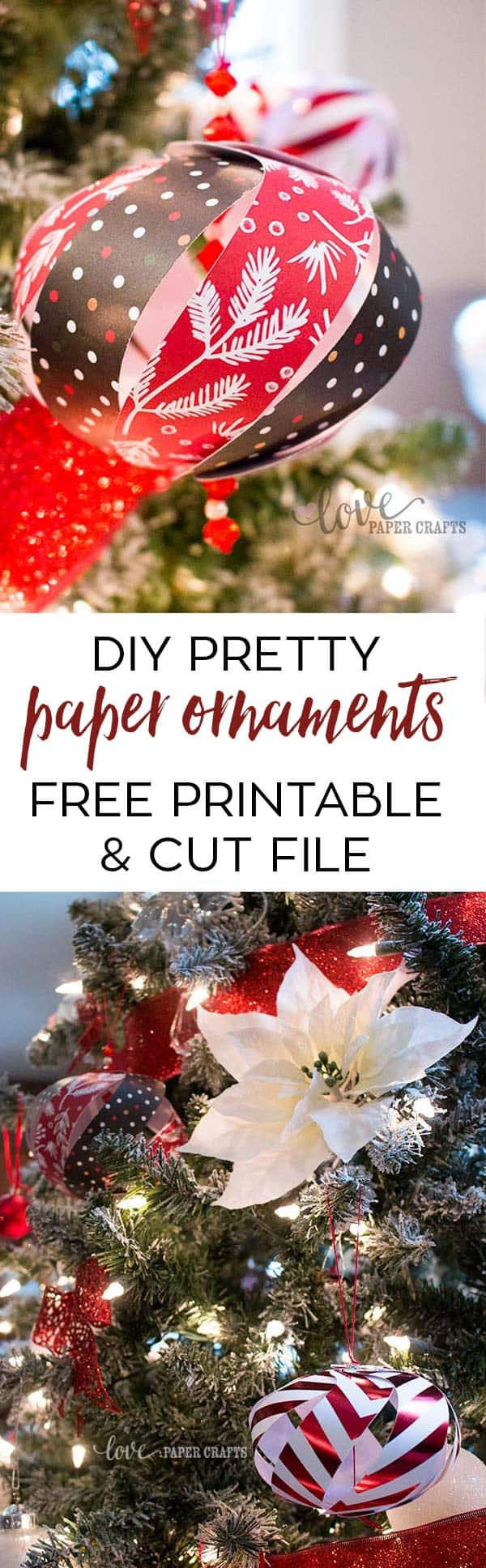#DIY Pretty Paper Ornaments Free #Printable Template and SVG DXF EPS PNG JPG Cut File for #Silhouette and #Cricut | LovePaperCrafts.com