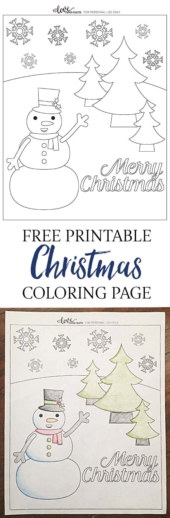 Free Printable Christmas Snowman coloring Page for the Kids | LovePaperCrafts.com