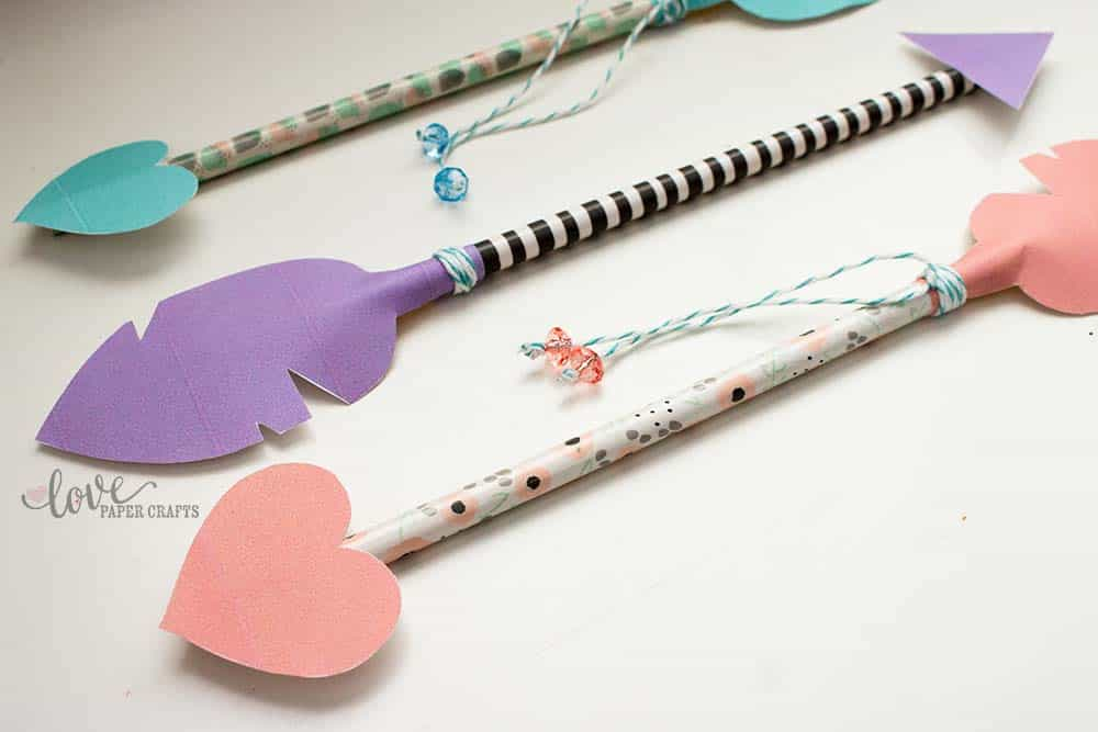 Easy to Make DIY Valentine's Day Pencil Arrow Printable and Template | LovePaperCrafts.com