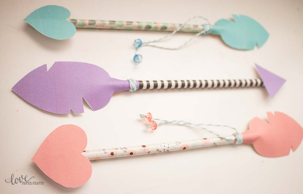 Kids DIY Valentine's Free Printable Pencil Arrow | LovePaperCrafts.com