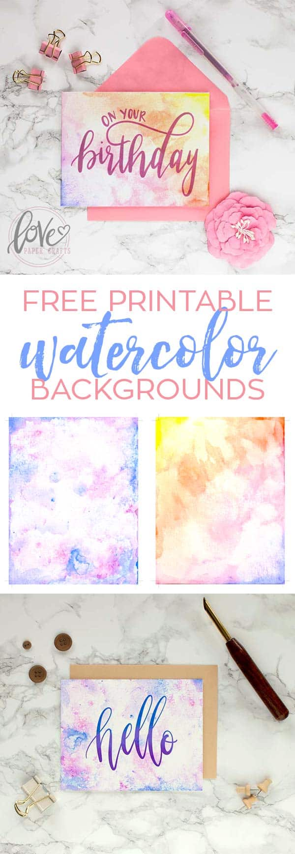 graphic relating to Printable Textures called Printable Watercolor Card Backgrounds - Appreciate Paper Crafts