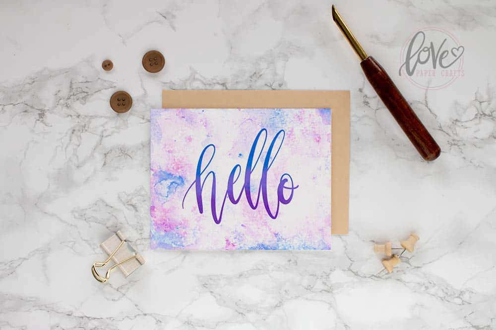 Pretty hand lettered watercolor greeting card made from a free printable watercolor texture.