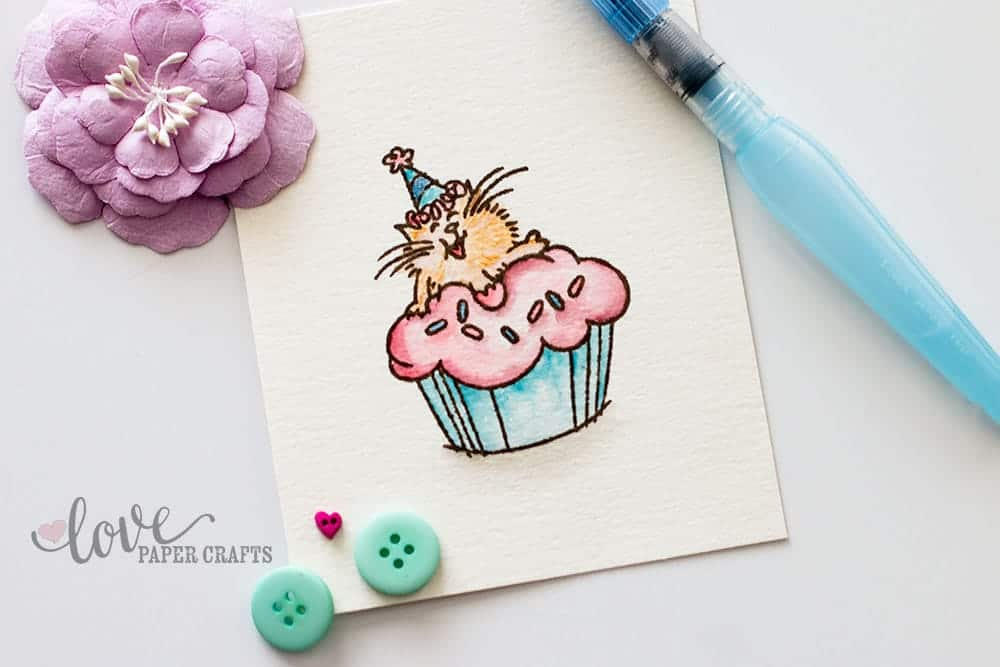 #card tip Use watercolors to color in rubber stamp images #stamping #watercolor | LovePaperCrafts.com