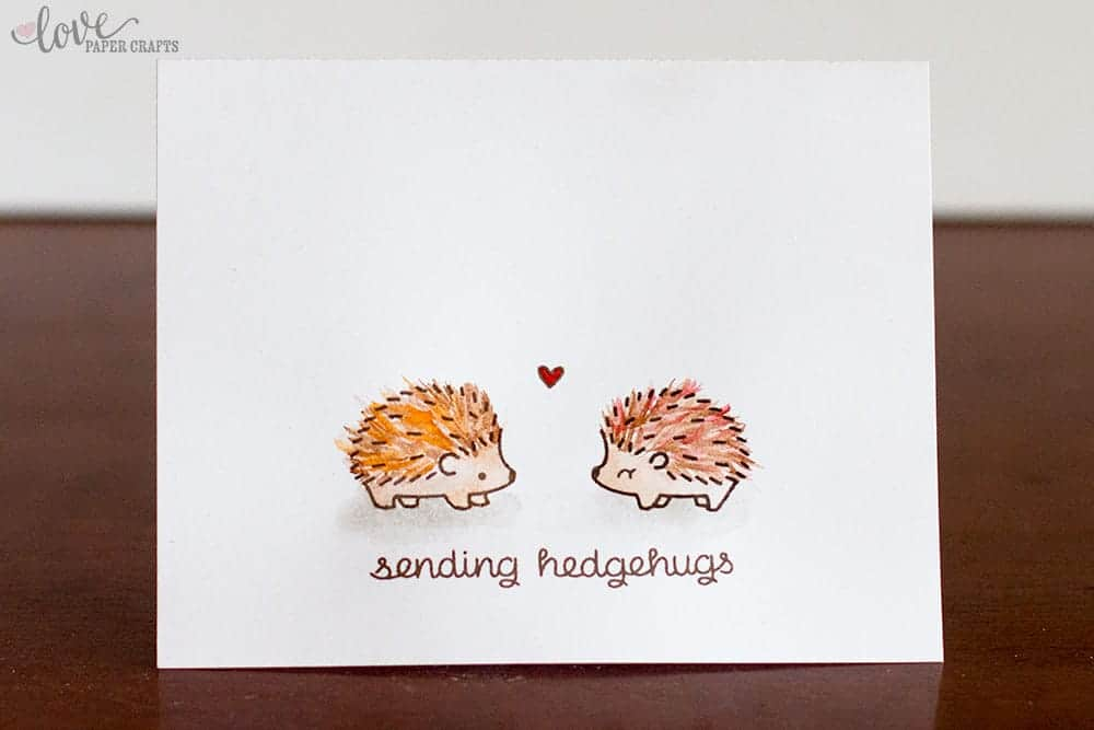 Lawn Fawn Hedgehog Hedgehugs Cards made from stamps and watercolors. How to add Character to your stamped images. | LovePaperCrafts.com