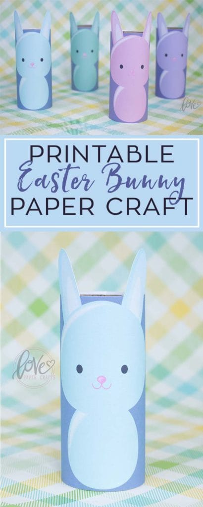 DIY Printable Easter Bunny Paper Craft with an Old Toilet Paper Roll. Great Easter paper craft for the kids!