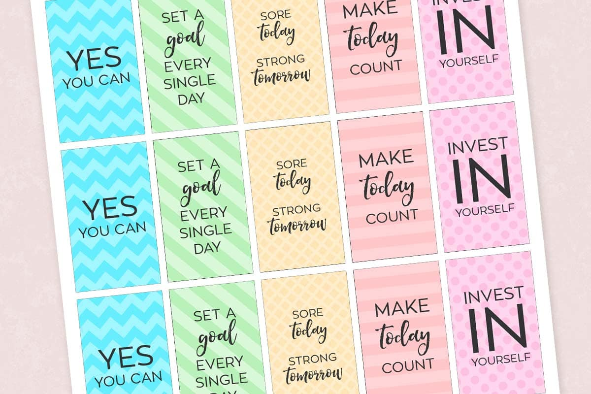 Free Printable Motivational Gym & Fitness Planner Stickers