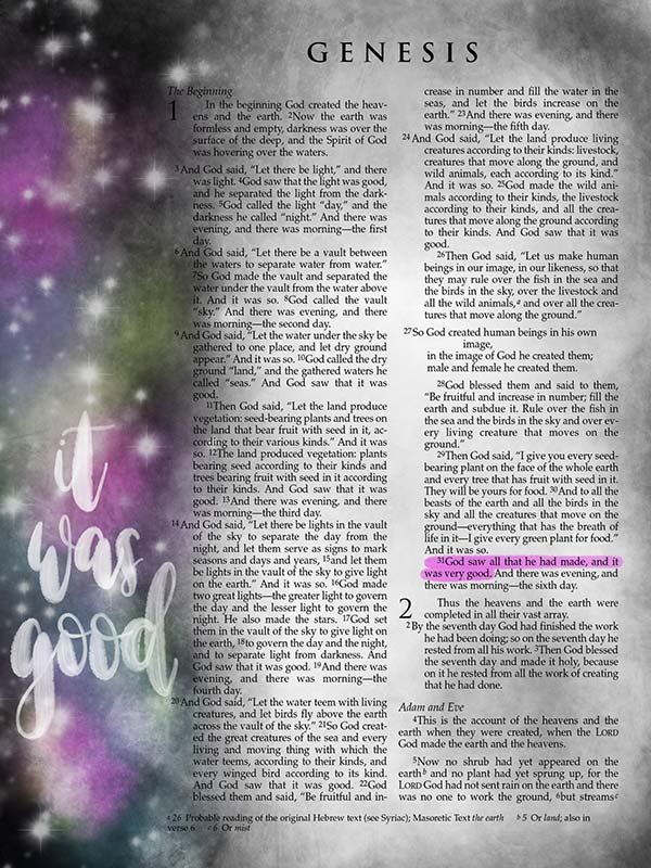 Genesis It Was Good Digital Bible Journaling Scripture