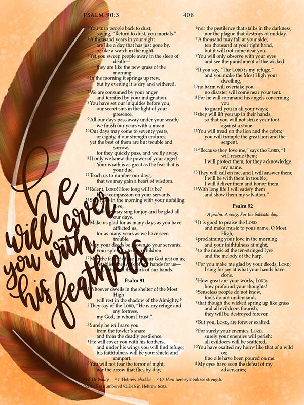 He Will Cover You With His Feathers Digital Bible Journaling Scripture Art