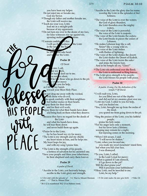 The Lord Blesses his People with Peace Digital Bible Journaling Page Scripture