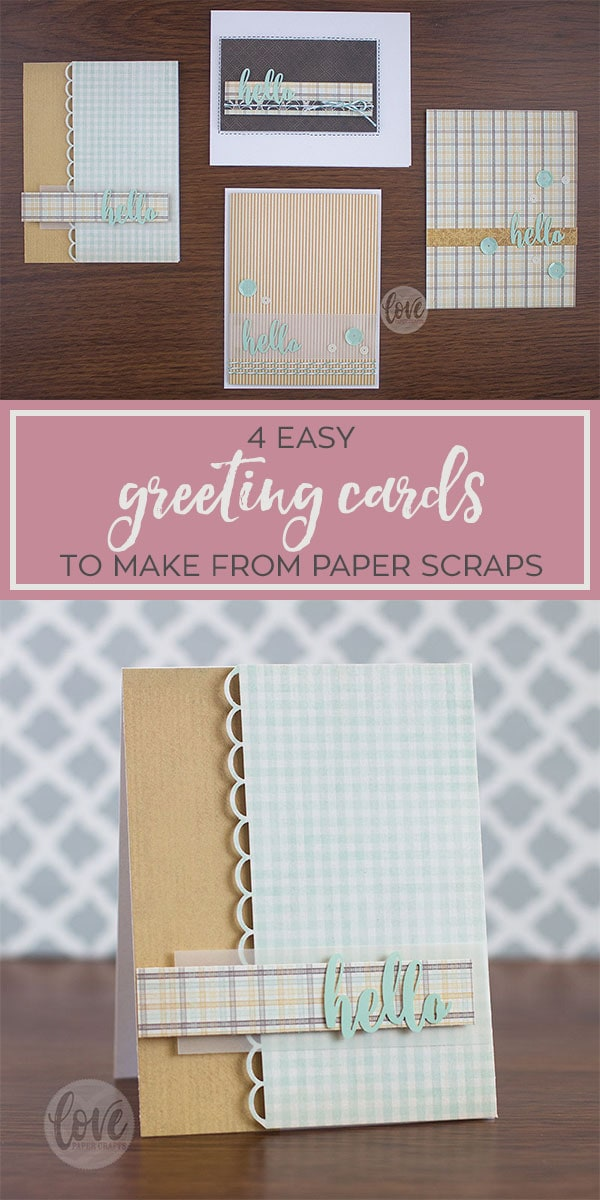 4 Easy greeting cards you can DIY and make from paper scraps, stickers, twine and sequins!