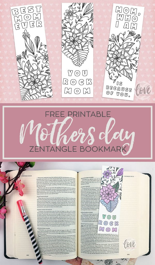 Free Printable Print and Color Zentangle Mothers Day Bookmark