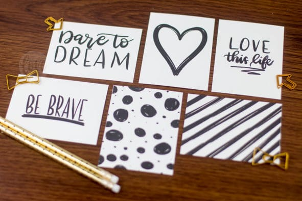 Hand lettered project life cards free printable