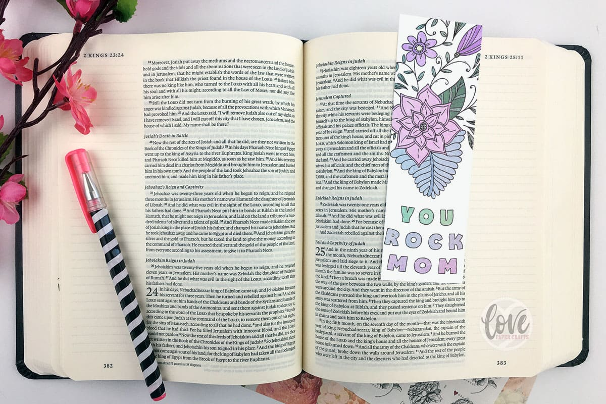 Printable Print and Color Mothers Day Zentangle Bookmark