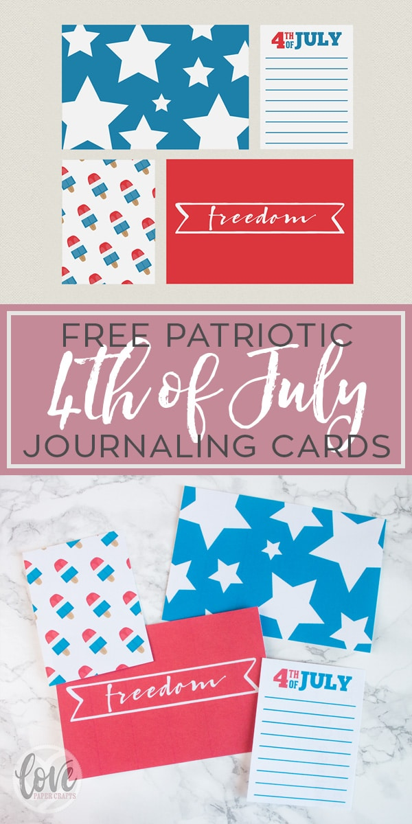 Free 4th of July USA Patriotic Printable Journaling Cards for Project Life, Planners and Scrapbooking