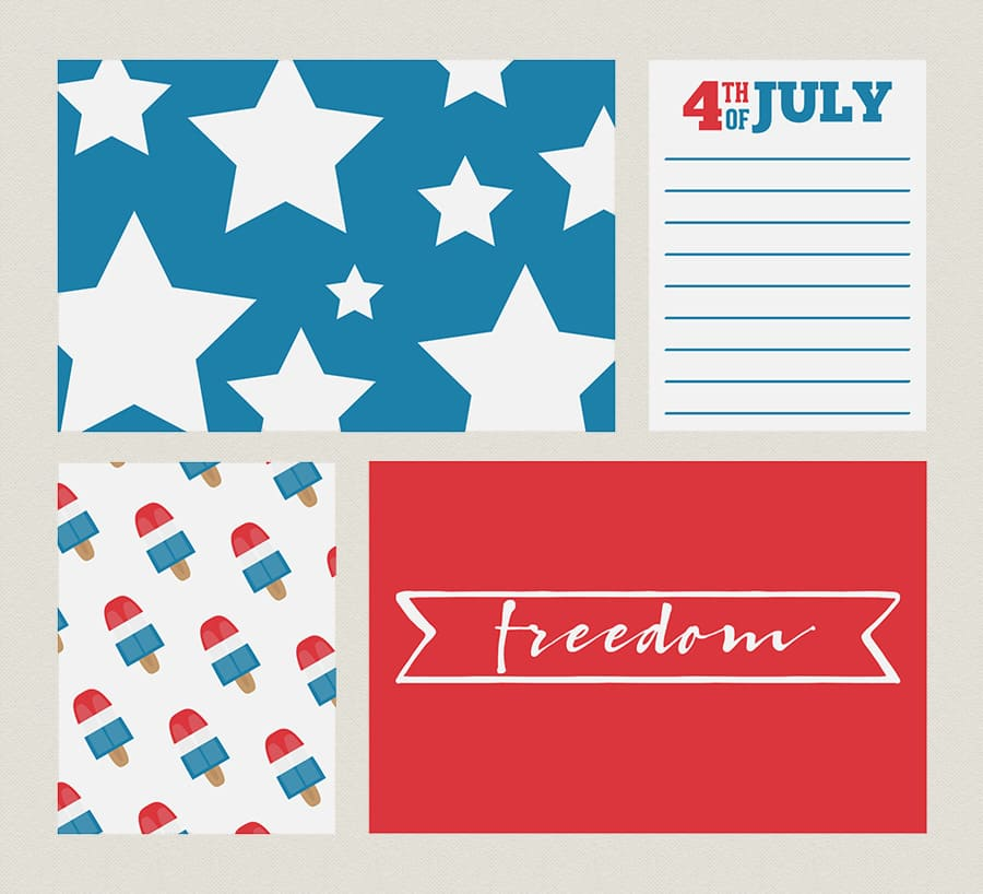 Free printable patriotic 4th of July Journaling Cards