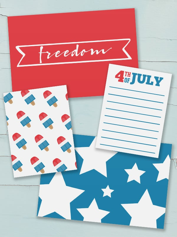 Free Project Life Printable Patriotic 4th of July Journal Cards
