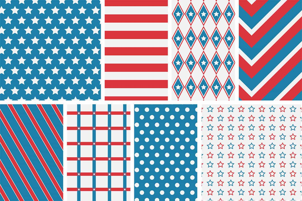 Free USA Patriotic 4th of July Patterned Digital Papers