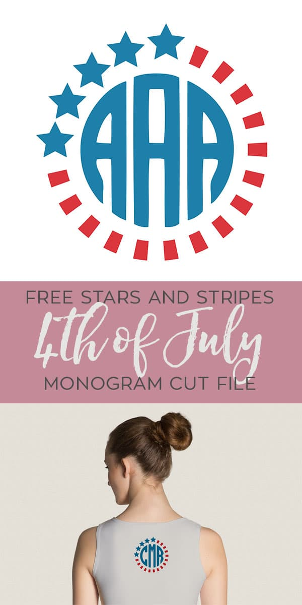 Free SVG Cut File for 4th of July Monogram Stars and Stripes